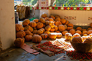 Pumpkins in the temple's kitchen to feed the pilgrims Gurudwara Sahib Manikaran with thermal springs is a pilgrimage centre for Sikhs in the Parvati Valley,  Himachal Pradesh, India