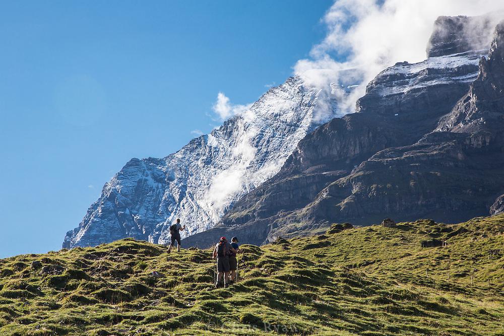 Hikers on the Via Alpina, Swiss Alps