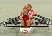 FISA World Cup Rowing Munich Germany..27/05/2004..Thursday morning opening heats...DEN M4X.Stroke Mogens Jessen, Bjarne Kallesoee, Niels Gommesen and Rasmus Hjortshoej. [Mandatory Credit: Peter Spurrier: Intersport Images].