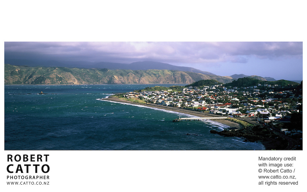 A panoramic view of Seatoun Wharf, Wellington, New Zealand.<br />