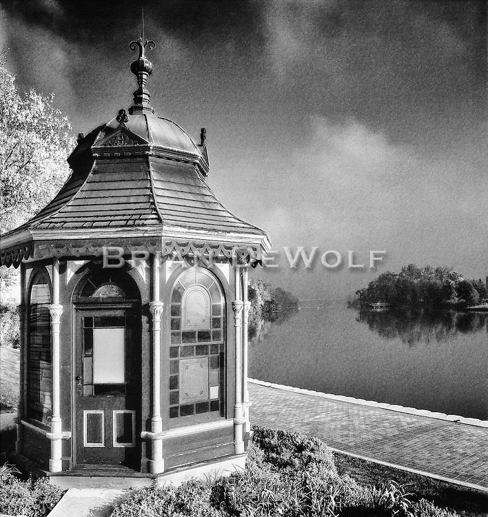 Mrs. Gunzenhauzer did  not like cigar smoke. In deference to her and a peaceful home, Mr. Gunzenhauzer would isolate himself with his cigar and his violin in this gazebo and relax. Or maybe it was his violin playing she didn't like?