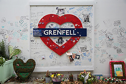 London, UK. 29 October, 2019. Memorials close to the Grenfell Tower. A much-delayed public inquiry report into the Grenfell Tower disaster which killed 72 people to be published tomorrow has been criticised today for its emphasis on criticism of London Fire Brigade.