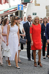 Brigitte Macron, wife of French President Emmanuel Macron, walk in the streets with U.S. First Lady Melania Trump during a visit on traditional Basque culture in Espelette, near Biarritz as part of the G7 summit.August 25, 2019. Photo by Thibaud Moritz/ABACAPRESS.COM
