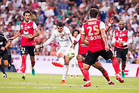 Real Madrid's player Alvaro Morata and Stade de Reims's player Rodriguez, and Weber during the XXXVII Santiago Bernabeu Trophy in Madrid. August 16, Spain. 2016. (ALTERPHOTOS/BorjaB.Hojas)