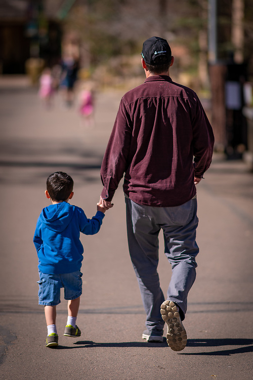 A father and son stroll the zoo.