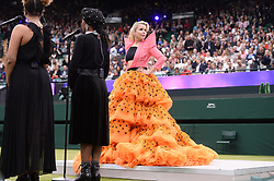 © Licensed to London News Pictures. 19/05/2019. London, UK. Singer Paloma Faith performs at the Wimbledon No. 1 Court Celebration event. At a cost of £70 million, the redevelopment also includes extended seating for1000spectators. Photo credit: Ray Tang/LNP