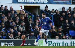 Gwion Edwards of Ipswich Town runs at Dan Butler of Peterborough United - Mandatory by-line: Arron Gent/JMP - 01/02/2020 - FOOTBALL - Portman Road - Ipswich, England - Ipswich Town v Peterborough United - Sky Bet League One