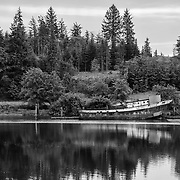 Abandoned Fishing Boat - Raymond, WA - Black & White