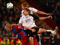 Fotball<br /> Premier League England<br /> Foto: SBI/Digitalsport<br /> NORWAY ONLY<br /> <br /> Crystal Palace v Fulham<br /> 04/10/2004.<br /> <br /> Crystal Palace's Aki Riihilahti is beaten in the air by Fulham's Brian McBride and Mark Pembridge