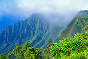Rainbow over Kalalau Valley from Kalalau Lookout, Na Pali Coast, Kokee State Park, Kauai, Hawaii
