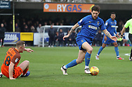 AFC Wimbledon midfielder Anthony Wordsworth (40) battles for possession with Southend United midfielder Sam Mantom (18) during the EFL Sky Bet League 1 match between AFC Wimbledon and Southend United at the Cherry Red Records Stadium, Kingston, England on 24 November 2018.