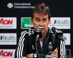 July 30, 2018 - Miami Gardens, Florida, USA - Real Madrid C.F. head coach JULEN LOPETEGUI talks to the media during a press conference before an open training session for the International Champions Cup match between Real Madrid C.F. and Manchester United F.C. at the Hard Rock Stadium in Miami Gardens, Florida. (Credit Image: © Mario Houben via ZUMA Wire)