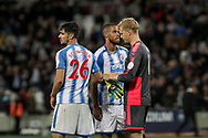 Huddersfield town players  Christopher Schindler (l) and Jonas Lossl look dejected at the end of the game, after losing by two goals.  Premier league match, West Ham Utd v Huddersfield Town at the London Stadium, Queen Elizabeth Olympic Park in London on Monday 11th September 2017.<br /> pic by Kieran Clarke, Andrew Orchard sports photography.