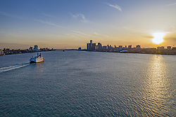 April 28, 2019 - Detroit, Michigan, U.S. - Detroit, Michigan - The Detroit Princess Riverboat on the Detroit River between Detroit (right) and Windsor, Ontario during a sunset dinner cruise. (Credit Image: © Jim West/ZUMA Wire)