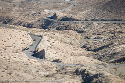 Route of the Motorcycle Cannonball up this steep mountain pass just out of Palm Desert on the Palms to Pines Scenic Byway on the last day of the Motorcycle Cannonball Race of the Century. Stage-15 ride from Palm Desert, CA to Carlsbad, CA. USA. Sunday September 25, 2016. Photography ©2016 Michael Lichter.