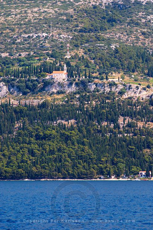 Franciscan monastery Our Lady of the Angels, Samostan Gospa Od Andela, on the Sveti Ilija hillside. Peljesac Peninsula. Orebic town. Peljesac peninsula. Dalmatian Coast, Croatia, Europe.
