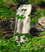 Munising Falls drops 50 feet over a limey sandstone cliff (the Northern Michigan cuesta or escarpment) in Pictured Rocks National Lakeshore, Alger County, Michigan, USA. Tannins color the water amber and brownish green, leached from Cedar, Spruce and Hemlock trees.