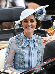 The Duchess of Cambridge arriving by carriage during day one of Royal Ascot at Ascot Racecourse.