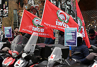 Deliveroo Riders protest outside of the London Stock Exchange demanding better pay, workers rights and rider safety after the company listed on the London Stock Exchangephoto by Krisztian Elek