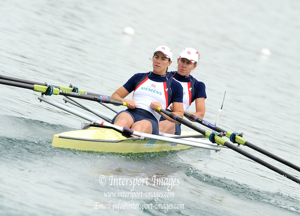 Munich, GERMANY, GBR W2X Bow Mel WILSON and Katherine Grainger, Move away from the pontoon in their Time trial heat Women's Double Sculls at the FISA World Cup on the Munich Olympic Rowing Course, Friday  27/05/2011}  [Mandatory Credit Peter Spurrier/ Intersport Images]