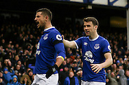Kevin Mirallas of Everton (l) celebrates after scoring his teams 2nd goal. Premier league match, Everton v Manchester City at Goodison Park in Liverpool, Merseyside on Sunday 15th January 2017.<br /> pic by Chris Stading, Andrew Orchard sports photography.
