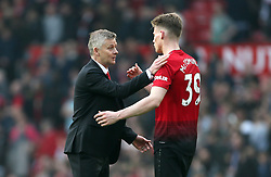 Manchester United caretaker manager Ole Gunnar Solskjaer (left) and Manchester United's Scott McTominay after the final whistle