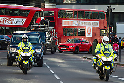 © Licensed to London News Pictures. 11/02/2016. London, UK.  The film crew being given a police escort across the bridge while Former Top-Gear presenter RICHARD HAMMOND films in new red 2016 Ford Mustang GT Coupe sports car on Westminster Bridge in central London. Hammond is currently preparing to take part in a new Amazon Prime television series with former Top-Gear co-hosts Jeremy Clarkson and James May. Photo credit: Ben Cawthra/LNP
