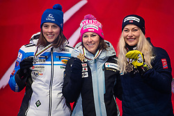 February 8, 2019 - Re, SWEDEN - 190208 Petra Vlhova of Slovakia, Wendy Holdener of Switzerland and Ragnhild Mowinckel of Norway celebrates at the medal ceremony for the women's combination during the FIS Alpine World Ski Championships on February 8, 2019 in re  (Credit Image: © Daniel Stiller/Bildbyran via ZUMA Press)