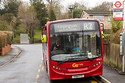 A Bus driver is parked on the bus stand near the controversial toilet. Local residents are both mystified and annoyed about the sudden appearance of a toilet for bus drivers that has been erected on the corner of Melody Road and Whitby Close in Biggin Hill, Kent. Biggin Hill, Kent, December 06 2018.