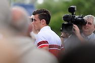 Gareth Bale arrives on the team bus for the Wales football team training at the FAW base, Dragon Park in Newport, South Wales on Monday 12th August 2013. pic by Andrew Orchard,  Andrew Orchard sports photography,