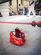 Well-used boxing helmet at a youth boxing ring, Havana, Cuba