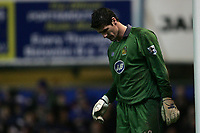 Photo: Lee Earle.<br /> Portsmouth v Wigan Athletic. The FA Cup. 06/01/2007. Wigan keeper Mike Pollitt looks dejected after Portsmouth's late winner.
