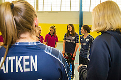 Pictured: Aileen Campbell meets the members of the Fettes College Ladies Cricket Team and shows that the Scotland strip has all the names of Scottish cricket clubs on the back. <br /> Aileen Campbell MSP (Minister for Public Health and Sport) joined Abbi Aitken (Scotland captain) Steve Knox (Scotland women's coach), Nicola Wilson (CS women's participation manager) and Oli Rae (opener for Edinburgh and Scotland) today at Edinburgh' Fettes College to promote women's cricket ahead of the national team's trip to Sri Lanka for the ICC Women's World Cup Qualifier (in Sri Lanka) on 29 January. <br /> Ger Harley | EEm 24 January 2017