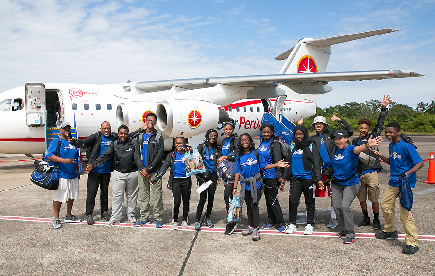 After a fun and educational tour of the Amazon jungle, the Frank Ski Foundation group prepares to board a plane. Next stop, Machu Picchu.