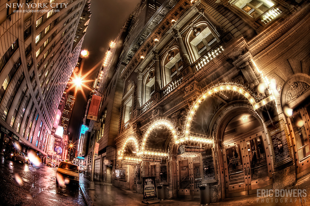 One of many Broadway theaters. It was a moody and atmospheric night with the light rain - enough rain to make it atmospheric but not enough to prevent me from taking photos.