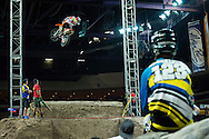 Kevin Rookstool watches Wally Palmer during early practice for Step Up at Endurocross Las Vegas, NV.