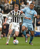 Photo: Leigh Quinnell.<br /> Notts County v Bury. Coca Cola League 2. 06/05/2006.<br /> Notts County Dan Martin battles with Burys Dwayne Mattis.