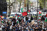 "London, United Kingdom, May 9, 2021 — People holding banners and placards are participating in ""Protest for Jerusalem"" outside Downing Street, Britain's PM Office in central London on Sunday, May 9, 2021. This is a series of protests which will be held also in Manchester, Birmingham and Bradford against the planned evictions of Palestinian families in the Sheikh Jarrah neighbourhood of East Jerusalem this week. (Photo/ Vudi Xhymshiti)"