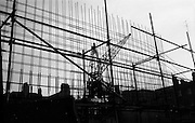 "06/03/1964<br /> 06/03/1964<br /> 06 March 1964<br /> View of the Abbey Theatre construction site. ""Silhouette in Steel! The structural steelwork of the new Abbey Theatre rises starkly skyward at Abbey Street, Dublin."