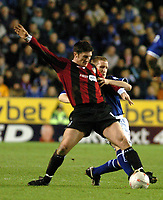 LEICESTER CITY/MANCHESTER CITY FA CUP 3RD ROUND REPLAY 14/01/04 PHOTO TIM PARKER FOTOSPORTS INTL JONATHAN MACKEN MANCHESTER CITY & JOHN CURTIS LEICESTER