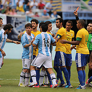 Ezequiel Lavezzi, Argentina, (left) is sent off during the Brazil V Argentina International Football Friendly match at MetLife Stadium, East Rutherford, New Jersey, USA. 9th June 2012. Photo Tim Clayton