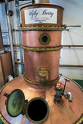 View of Ugly Betty gin still for The Botanist gin at Bruichladdich Distillery on island of Islay in Inner Hebrides of Scotland, UK