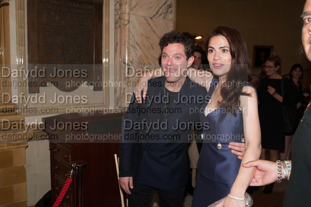 Mathew Horne; Hayley Atwell,, Press night performance of the Pride at Trafalgar Studios and afterwards at the Gladstone Library, National Liberal Club. Whitehall place. London. 13 August 2013.