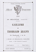 All Ireland Senior Hurling Championship Programme.Galway vs Tipperary.Pearse Park, Galway.01.10.1961 .1st October 1961