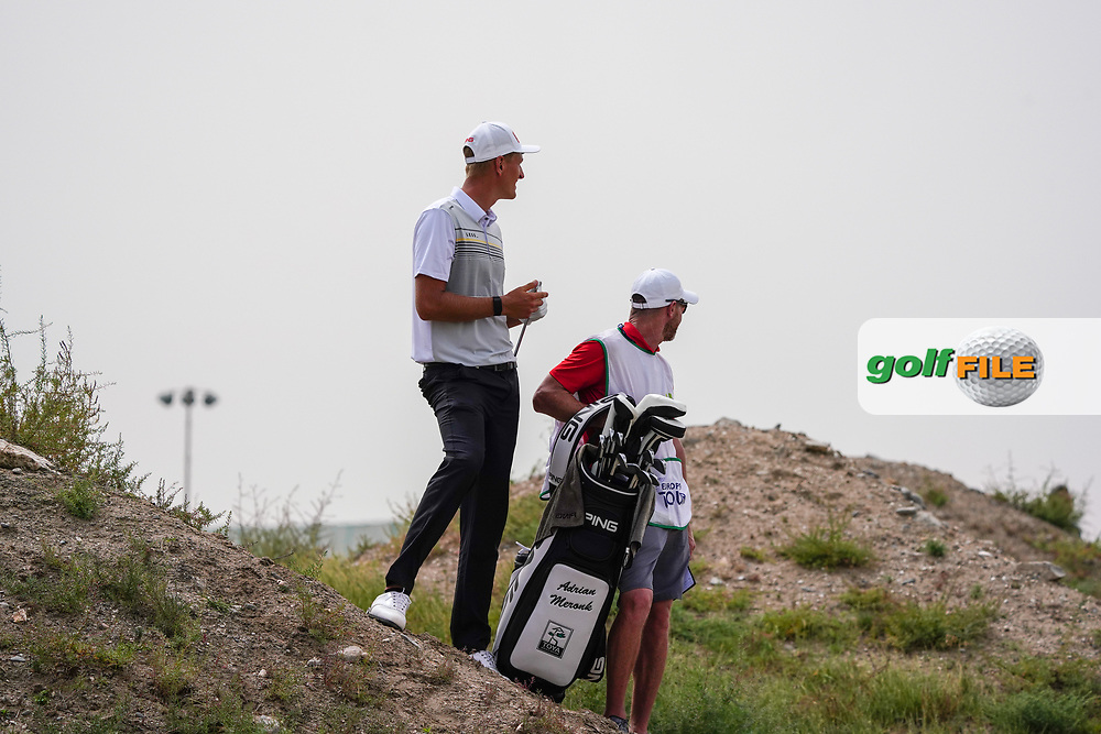 Adrian Meronk (POL) on the 9th during Round 1 of the Oman Open 2020 at the Al Mouj Golf Club, Muscat, Oman . 27/02/2020<br /> Picture: Golffile | Thos Caffrey<br /> <br /> <br /> All photo usage must carry mandatory copyright credit (© Golffile | Thos Caffrey)