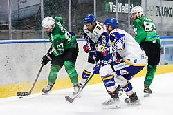 Zan Jezovsek of HK SZ Olimpija vs Derek Joslin of EC Grand Immo VSV during ice hockey match between HK SZ Olimpija Ljubljana and EC GRAND Immo VSV in bet-at-home ICE Hockey League, on October 22, 2021 in Hala Tivoli, Ljubljana, Slovenia. Photo by Morgen Kristan / Sportida