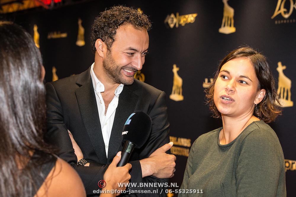 NLD/Utrecht/20160921- inloop Openingsavond NFF 2016: premiere DE HELD, Nasrdin Dchar en partner Amy Donk