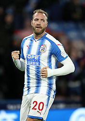 Huddersfield Town's Laurent Depoitre celebrates scoring his side's first goal of the game