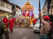 05 OCTOBER 2014 - GEORGE TOWN, PENANG, MALAYSIA:  A procession honoring Durga in George Town during the Navratri procession. Navratri is a festival dedicated to the worship of the Hindu deity Durga, the most popular incarnation of Devi and one of the main forms of the Goddess Shakti in the Hindu pantheon. The word Navaratri means 'nine nights' in Sanskrit, nava meaning nine and ratri meaning nights. During these nine nights and ten days, nine forms of Shakti/Devi are worshiped.   PHOTO BY JACK KURTZ
