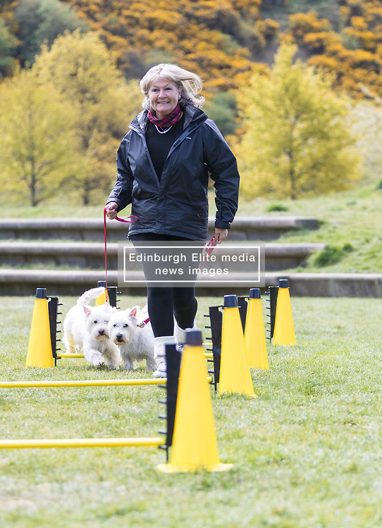 MSPs display their dogs and put them through an agility course with the winner decided by a public vote on the day.<br /> <br /> Pictured:Margaret Mitchell with her dogs Jack and Jamie